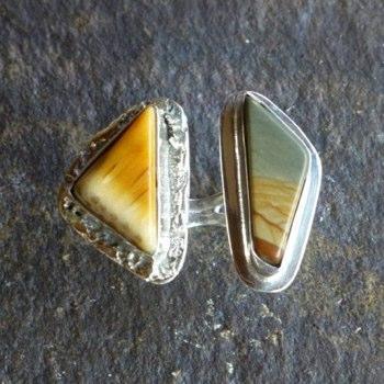 Triangular Landscape Jasper Ring sz 9.5